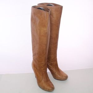 Dolce Vita Camel Pebbled Leather Knee High Boots